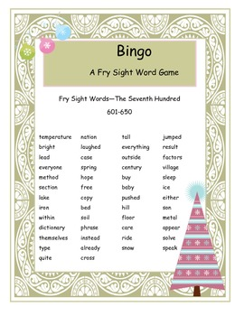 Christmas Fry Words 601-650 Bingo Game