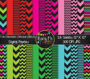 Christmas Fun Chevron on Black Digital Papers {Commercial Use Digital Graphics}