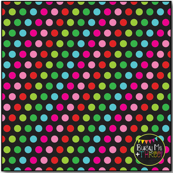 Christmas Fun Dots on Black Digital Papers {Commercial Use Digital Graphics}