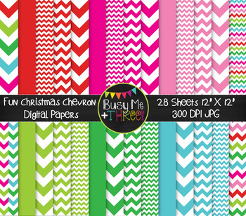 Christmas Fun Chevron on White Digital Papers {Commercial Use Digital Graphics}