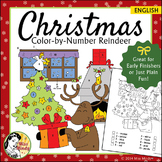 Christmas Fun Color by Number Reindeer Coloring Page Worksheet - English