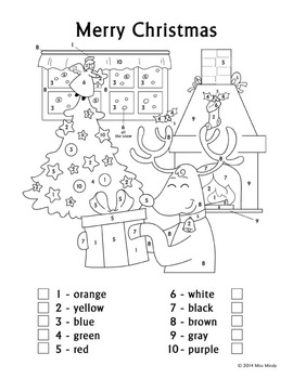 Christmas Fun Color By Number Reindeer Coloring Page Worksheet English