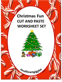 Distance Learning Christmas Math Literacy Packet, Cut  Paste Worksheets,