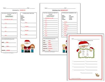 Christmas Fun Differentiated Learning: ABC order, scramble, making words