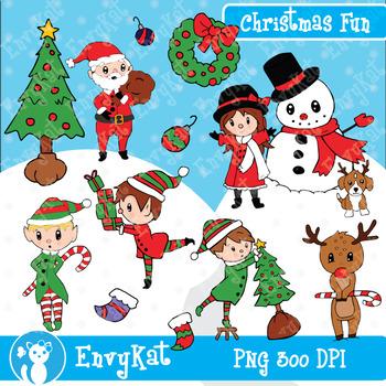 Christmas Fun Digital Clipart Illustrations
