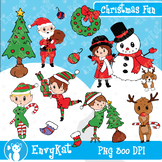 Christmas Fun Digital Clipart Illustrations