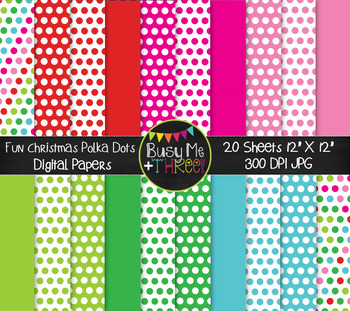 Christmas Fun Dots on White Digital Papers {Commercial Use Digital Graphics}