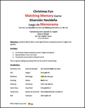 Christmas Fun Matching Memory Game! !Diversión Navideña Juego de Memorama!