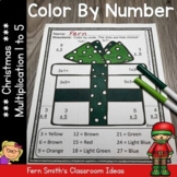 Christmas Color By Number Multiplication Facts One to Five