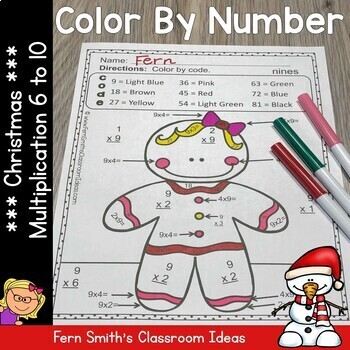 Color By Numbers Christmas Math Multiplication Facts Six to Ten