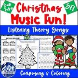 Christmas MUSIC Worksheets, FUN - No Prep, K-5 - Composing, Listening & Writing