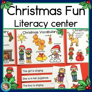 Christmas Fun Sentence Picture Match Reading Center