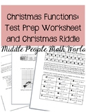 Christmas Functions: Test Prep Worksheets and Evaluating Functions Riddle
