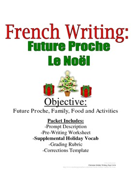 Christmas Future Proche Writing Prompt for French Students: Rubric Included