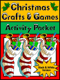 Christmas Games Activities: Christmas Crafts & Games Activity Packet - BW