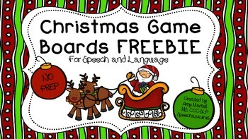 Christmas Game Board Bundle for Speech and Language  FREEBIE