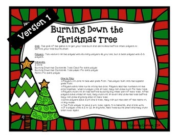 Christmas Game: Burning Down the Christmas Tree FREEBIE