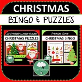 Christmas Games BUNDLE Bingo and Number Puzzles including