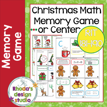 Christmas Games Math RIT 181-190 Memory Game and Worksheet | TpT