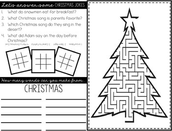 FREE Christmas Games Placemats