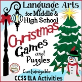 Christmas Games for Middle & High School Language Arts Challenging & Fun CCSS
