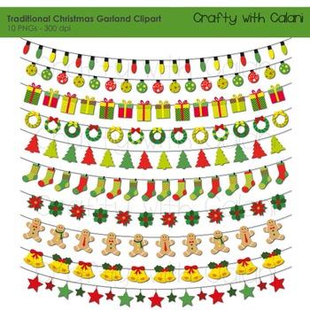 Christmas Garland Clipart, Holiday Clipart, 10 Ornamental Christmas Garland