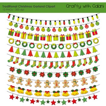 Christmas Garland Clipart, Holiday Clipart, 10 Ornamental
