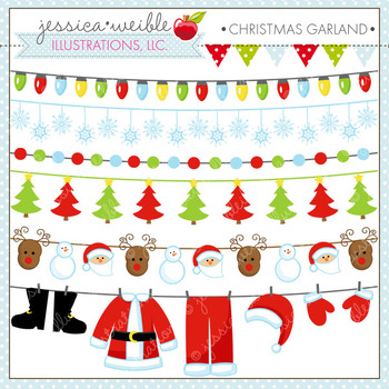 Christmas Garland - Cute Digital Clipart, Christmas Graphics