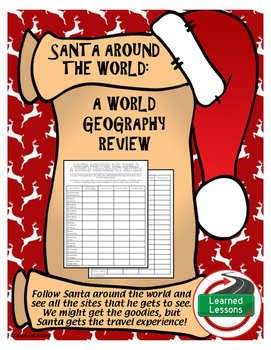 Christmas Geography Activity, Santa Around the World FREE