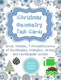 Christmas Geometry Task Cards - Area, Circumference, Volume - 5th, 6th, 7th
