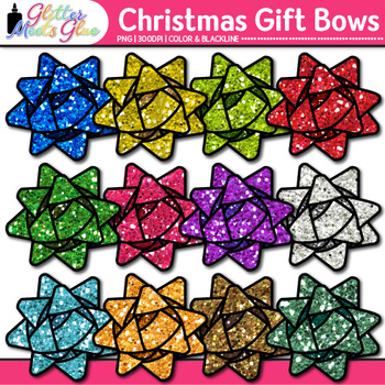Christmas Gift Bow Clip Art {Graphics for Present Tags & Digital Scrapbooking}