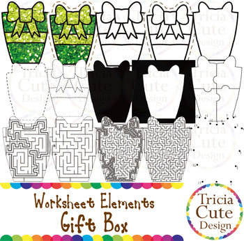 Gift Box Worksheet Elements Clip Art for Tracing Cutting Puzzle Maze