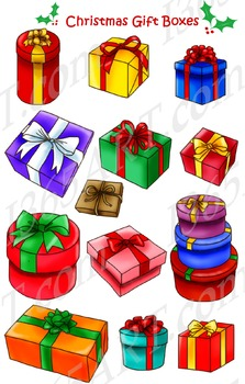 Christmas Gift Boxes Clip Art Pack 13 in total