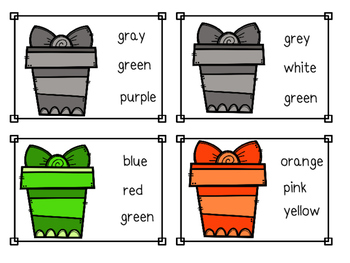 Christmas Gift Color Sight Word Clip Cards