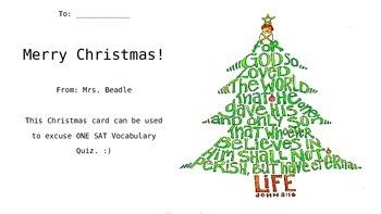 Christmas Gift For Students... Homework Pass! Fully Editable PPT File