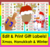 Christmas Gift Tags- Editable Holiday Gift Tags & Christmas Labels