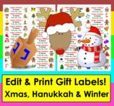 Christmas Gift Tags- Editable Holiday Gift Tags & Christma