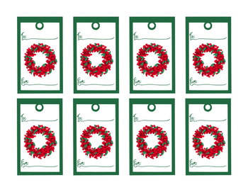 Christmas Gift Tag Wreath Red Berries Printable Instant Download