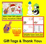 Christmas Gift Tags and Christmas Thank You Notes BUNDLE VALUE!  EDITABLE!