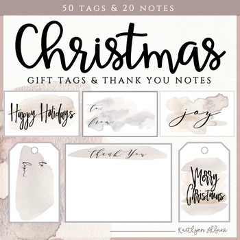Christmas Gift Tags and Thank You Notes - Watercolor Blush Brushstrokes