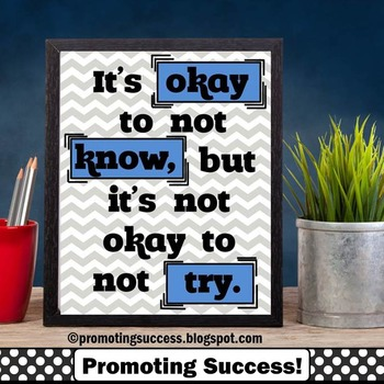 Okay to Not Know Motivational Quote, Printable Classroom Poster Decor