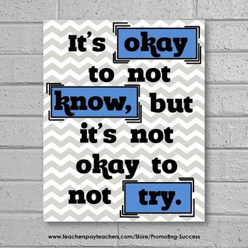 Blue and Gray Chevron Classroom Decor, It's Okay to Not Know Motivational Poster