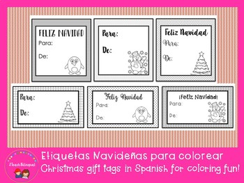 Christmas Gift tags in Spanish for coloring / Etiquetas para colorear