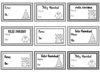 christmas gift tags in spanish for coloring etiquetas para colorear