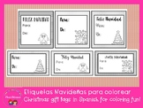 Christmas Gift tags in Spanish for coloring / Etiquetas pa