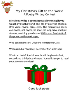 My Christmas Gift to the World: A Student Poetry Contest/ Activity