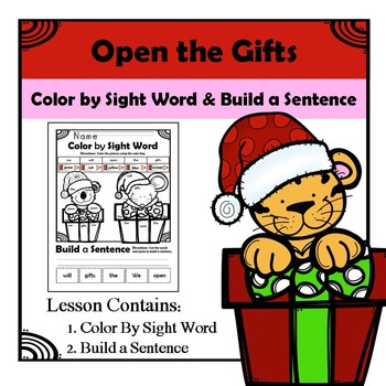 Christmas Gifts - Color by Sight and Build a Sentence