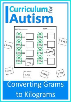 Converting Grams to Kilograms Cut & Paste, Autism Middle School Math