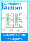 Grams to Kilograms Metric Weight  Autism Special Education