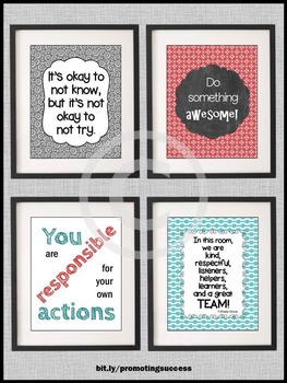 Red and Teal Classroom Rules Posters, Back to School Rules Motivational Posters